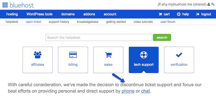 bluehost without ticket support
