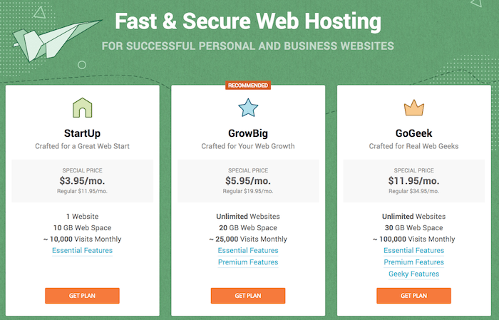 "SoiteGround privves vs Bluehost Prices ""width ="" 700 ""height ="" 449 [19659020] SiteGround pricing page: the large and visible price is only for the first year </em></img></p> <ul> <li>  <strong> Start-up for $ 11.95 per month </strong>: Hosting for 1 website, 10GB of storage, No bandwidth limitations, 24-hour support and its entry Caching system.</li> <li><strong>  GrowBig for $ 19.95 per month </strong>: Hosting for unlimited websites, 20GB of space, unlimited bandwidth, advanced caching system, organization and backups on demand.</li> <li><strong>  GoGeek for $ 34.95 per month </strong>: Same as previous plans, priority support and Git repository preinstalled.</li> </ul> <p>These are Bluehost shared hosting prices:</p> <p><img class="