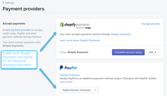 shopify payments and paypal