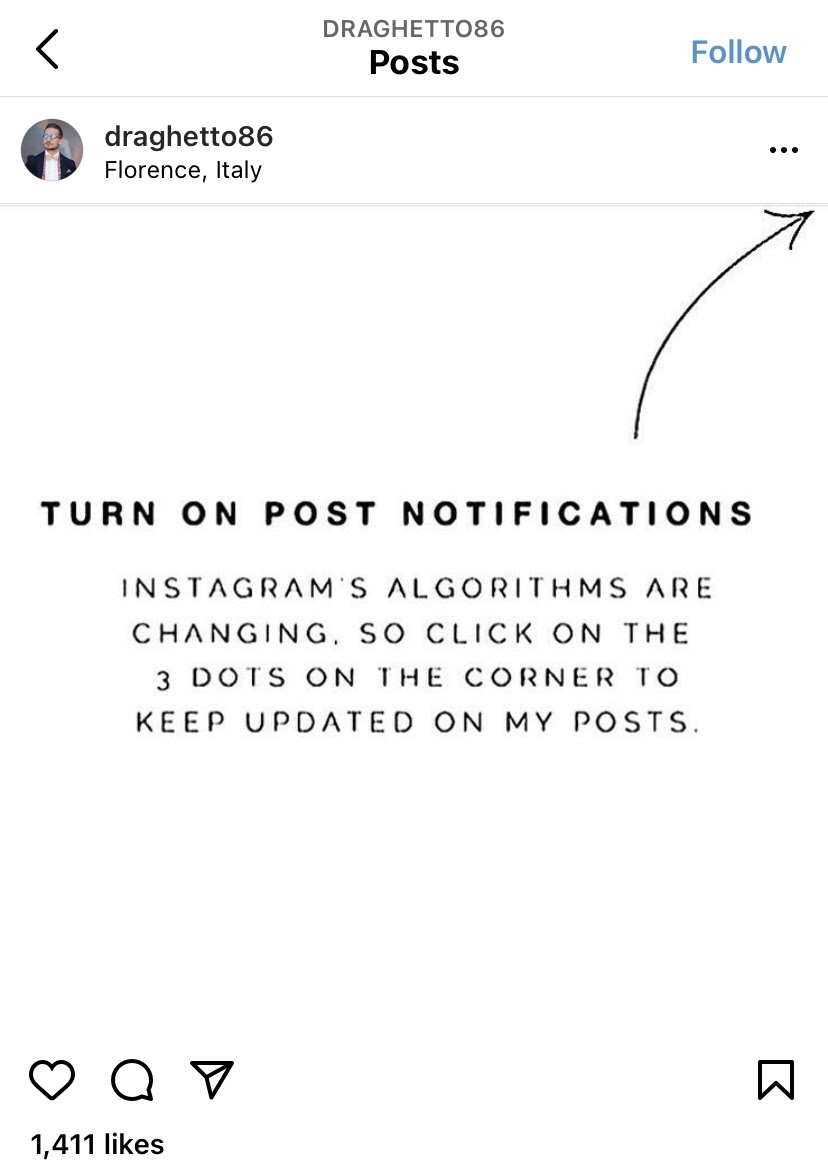 Don't ask your followers to turn on Instagram post notifications.